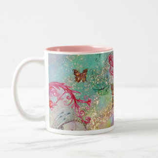 GOLD BUTTERFLY IN SPARKLES 2 pink red blue green Two-Tone Coffee Mug