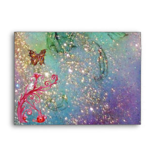 GOLD BUTTERFLY IN TEAL AQUA BLUE SPARKLES SWIRLS ENVELOPES