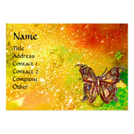 GOLD BUTTERFLY IN YELLOW GREEN RED BROWN SPARKLES BUSINESS CARD TEMPLATE