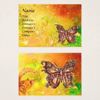 GOLD BUTTERFLY IN YELLOW GREEN RED BROWN SPARKLES BUSINESS CARD