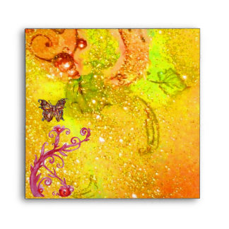 GOLD BUTTERFLY IN YELLOW SPARKLES AND SWIRLS ENVELOPE