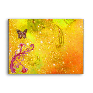 GOLD BUTTERFLY IN YELLOW SPARKLES AND SWIRLS ENVELOPES