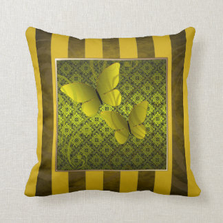 Gold Butterfly Kisses Pinstripe Pillow