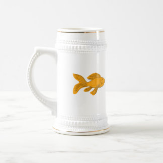 Gold Butterfly Koi Swimming Drawing Beer Stein