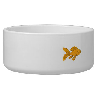 Gold Butterfly Koi Swimming Drawing Bowl