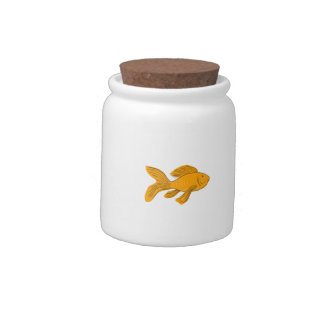 Gold Butterfly Koi Swimming Drawing Candy Jar