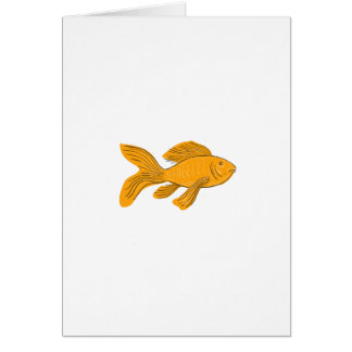 Gold Butterfly Koi Swimming Drawing Card