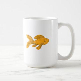 Gold Butterfly Koi Swimming Drawing Coffee Mug