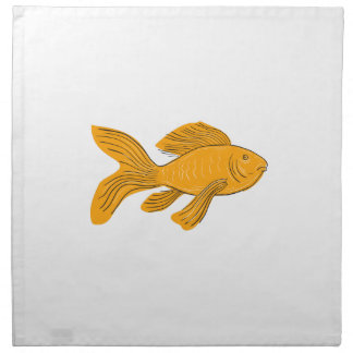 Gold Butterfly Koi Swimming Drawing Napkin
