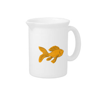 Gold Butterfly Koi Swimming Drawing Pitcher