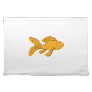 Gold Butterfly Koi Swimming Drawing Placemat