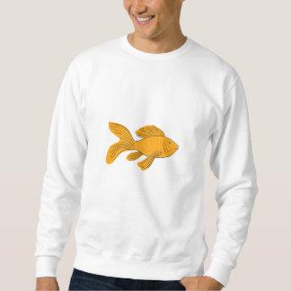 Gold Butterfly Koi Swimming Drawing Sweatshirt