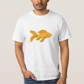 Gold Butterfly Koi Swimming Drawing T-Shirt
