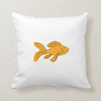 Gold Butterfly Koi Swimming Drawing Throw Pillow