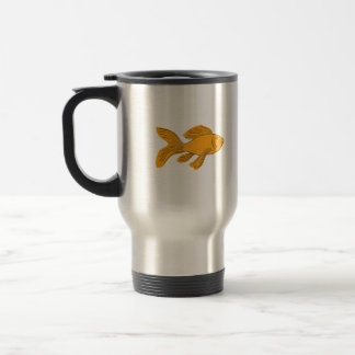 Gold Butterfly Koi Swimming Drawing Travel Mug