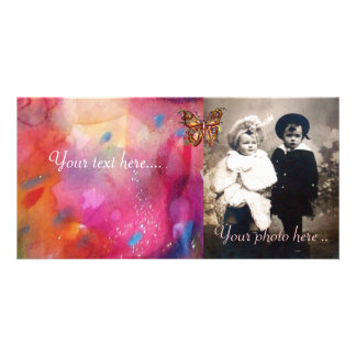 GOLD BUTTERFLY / RED PINK BLUE ABSTRACT PHOTO CARD