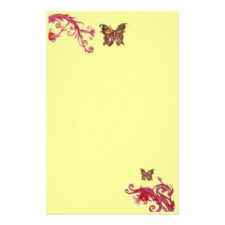 GOLD BUTTERFLY , red pink light yellow Stationery