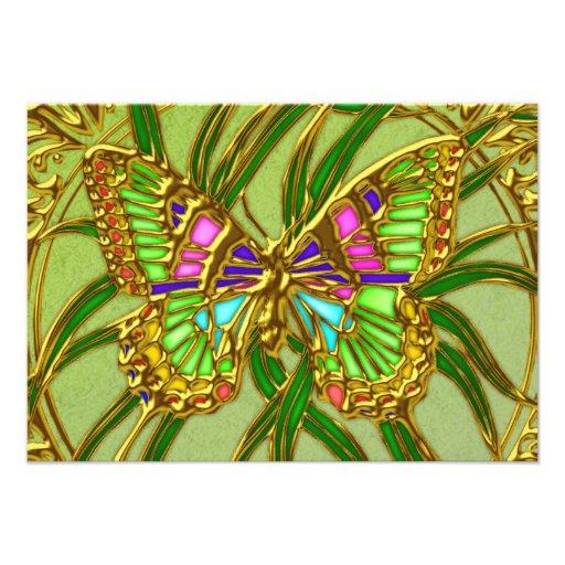 Gold Butterfly RSVP Wedding Invitation