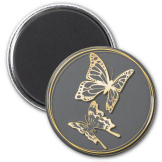 Gold Butterfly Save The Date Wedding Announcement 2 Inch Round Magnet