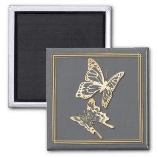 Gold Butterfly Save The Date Wedding Announcement 2 Inch Square Magnet