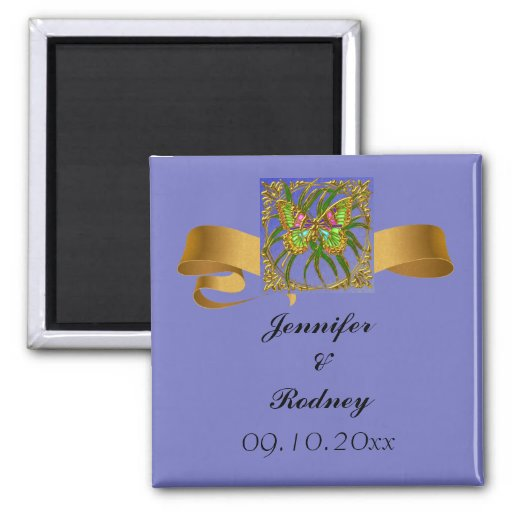 Gold Butterfly Save The Date Wedding Magnet