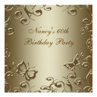 Gold Butterfly Swirls Womans 60th Birthday Party Announcement