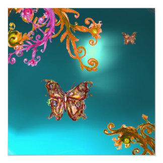 GOLD BUTTERFLY TEAL AQUA  BLUE AQUAMARINE GEMSTONE CARD