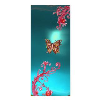 GOLD BUTTERFLY TEAL AQUA BLUE GEMSTONE CARD