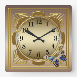 Gold Butterfly Wall Clock