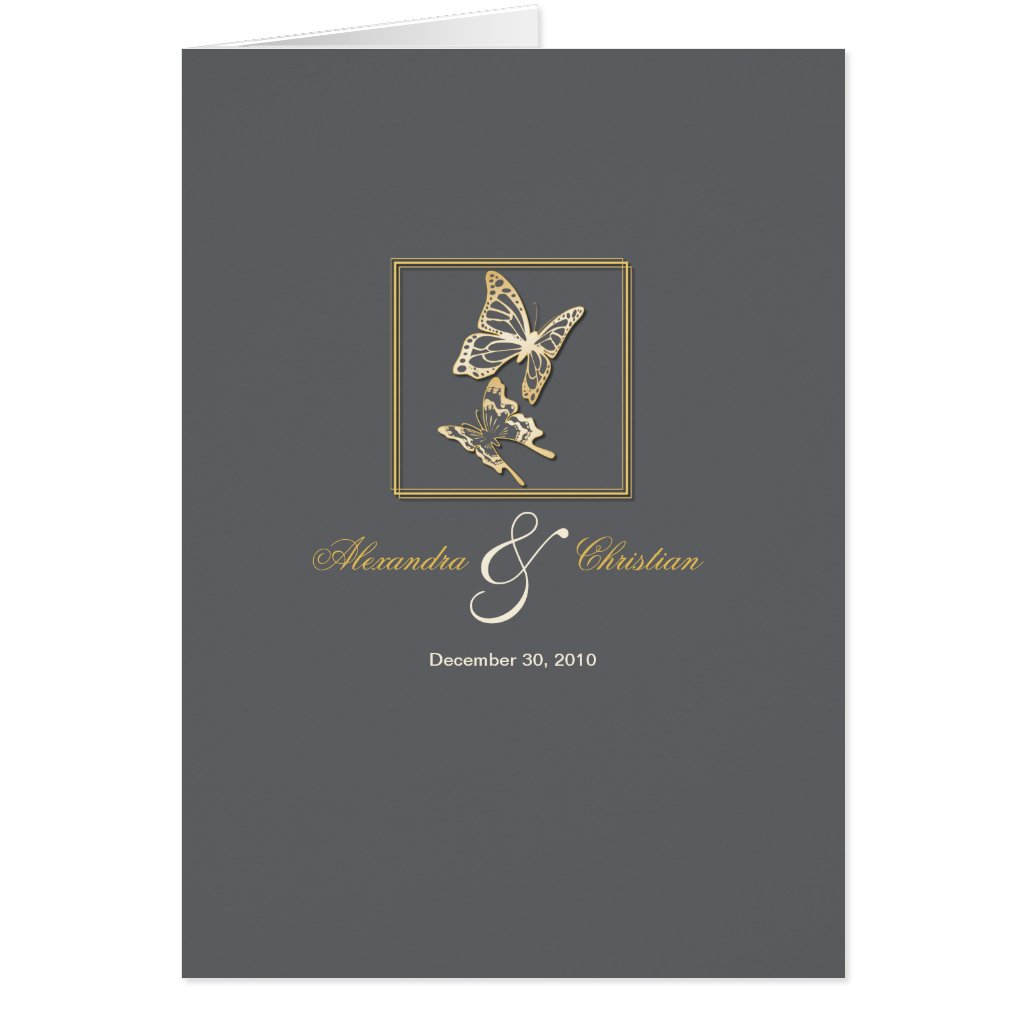 Gold Butterfly Wedding Invitation Announcement Greeting Cards