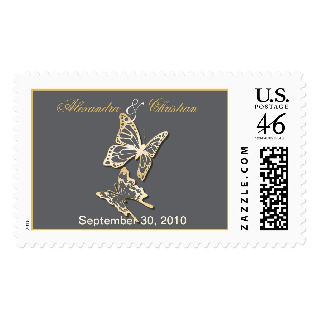 Gold Butterfly Wedding Invitation Announcement Postage Stamps