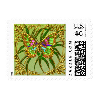 Gold Butterfly Wedding Postage