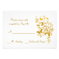 Gold Butterfly Wedding RSVP Card Personalized Invitations (<em>$1.75</em>)