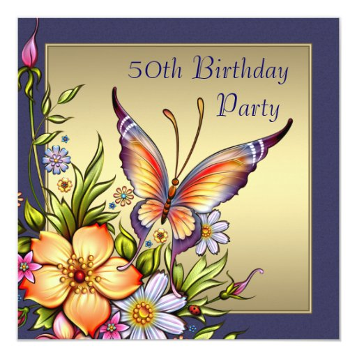 Gold Butterfly Womans 50th Birthday Party Card