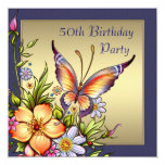Gold Butterfly Womans 50th Birthday Party Personalized Invite