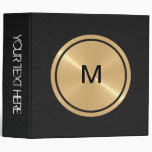 Gold Button and Black Stainless Steel Metal 3 Ring Binders