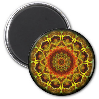 Gold Button Mandala 2 Inch Round Magnet