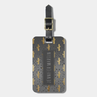 Gold Cactus on Modern Chic Geo Triangles Gradient Luggage Tag