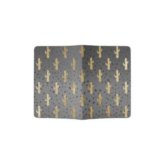 Gold Cactus on Modern Chic Geo Triangles Gradient Passport Holder