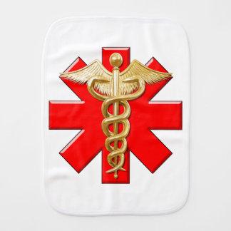 Gold Caduceus And Medical Cross Burp Cloth