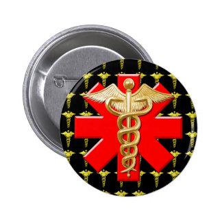 Gold Caduceus And Medical Cross Pinback Button