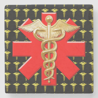 Gold Caduceus And Medical Cross Stone Beverage Coaster