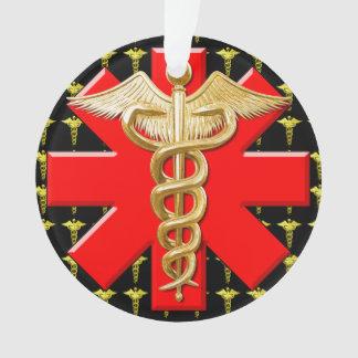 Gold Caduceus And Medical Cross Ornament