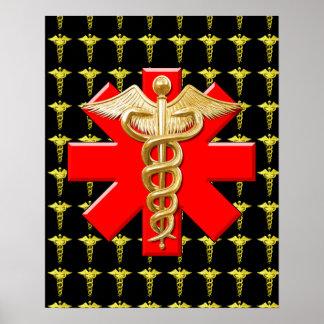 Gold Caduceus And Medical Cross Poster