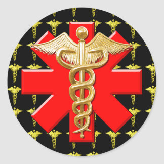 Gold Caduceus And Medical Cross Classic Round Sticker