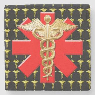 Gold Caduceus And Medical Cross Stone Coaster