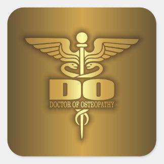 Gold Caduceus (DO) Square Sticker