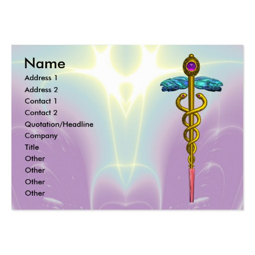 GOLD CADUCEUS,DOCTOR ,MEDICAL SERVICE Purple Teal Large Business Card