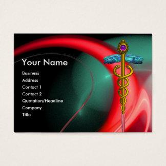 GOLD CADUCEUS IN BLUE GREEN RED FRACTAL SWIRLS BUSINESS CARD