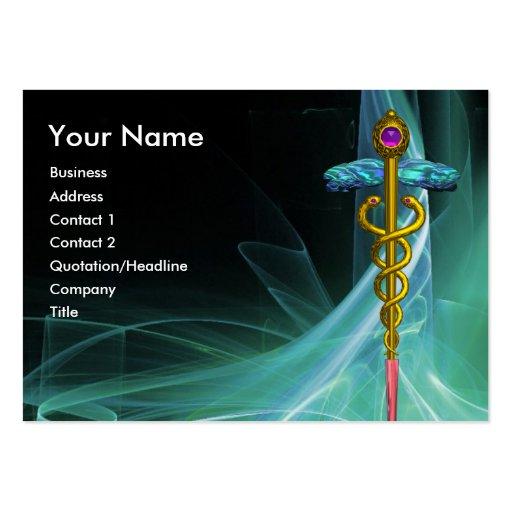 GOLD CADUCEUS IN GREEN BLUE TEAL LIGHT WAVES BUSINESS CARD TEMPLATES